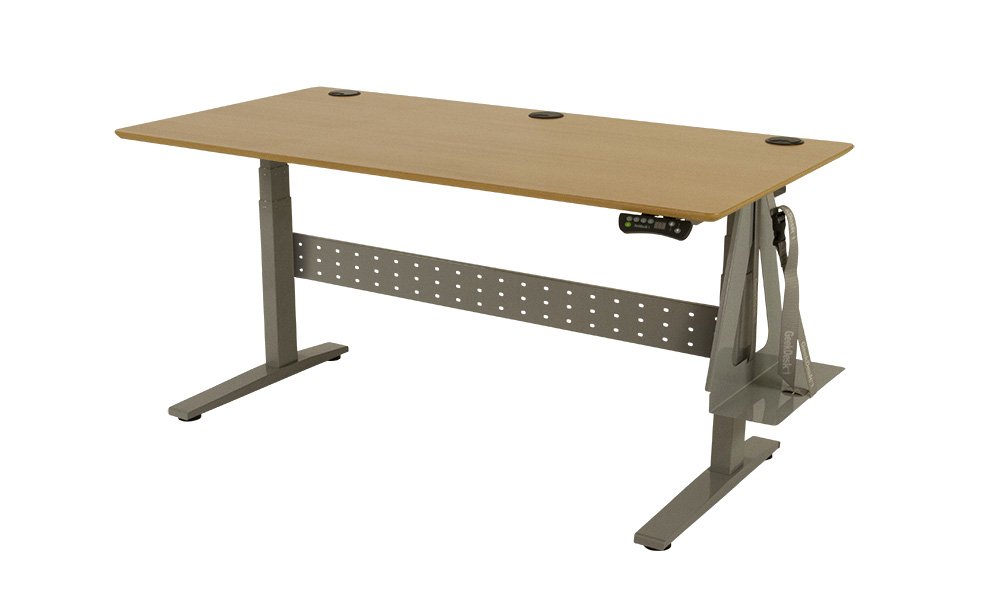 GeekDesk Max - Silver Frame with Beech Veneer Top and Silver CPU Holder