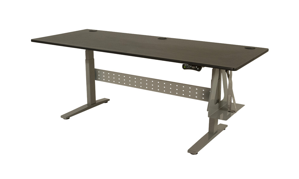 GeekDesk® Max Silver Frame With Black Laminate Top And Silver CPU Holder Standing  Desk ...